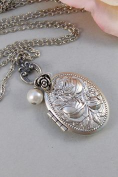 Vintage Roses,Locket,Necklace,Rose, Antique Locket,Silver Locket,Rose Jewelry,Rose Necklace,Roses, Handmade jewelry by valleygirldesigns