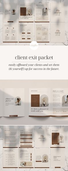 Show your clients how professional you are with the Client Exit Packet! This packet includes a testimonial section, overview of your time together, additional services, next steps, and more - it's the perfect way to end a project with your client! Easily add your own content, switch out images, change fonts and colors and adjust your template for each new client if needed.   tinypinecreative.com Brand Identity Design, Brand Design, Survey Template, Templates, Welcome Packet, Business Checks, Business Journal, Starting Your Own Business, Business Management