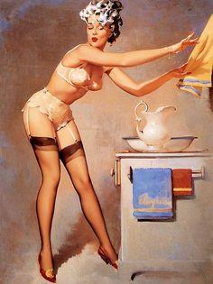 As mulheres dificilmente têm um dia tranquilo. O coração não deixa. Gil Elvgren - Eye catcher