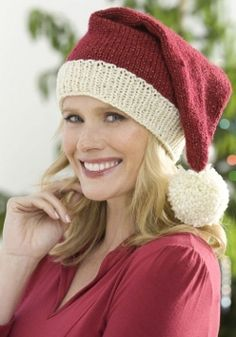 Adult Santa Hat - I like how this is done in deep red and creme instead of the red/white standard.