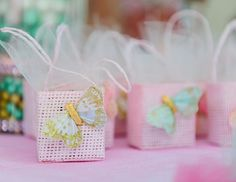 Baby shower details...little bags with chocolates inside