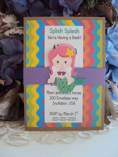 Under the Sea Invitations , Mermaid Invitation, Childrens Birthday Invitations. $30.00, via Etsy.