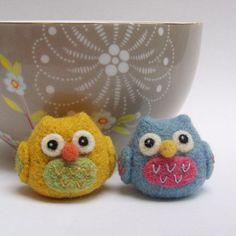 Needle felted owls: