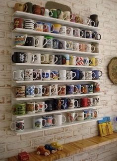 Cute way to display and organize your coffee mugs, and have easy access