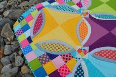 polka dot bikini quilt by Color Girl using kona cotton solids fabrics