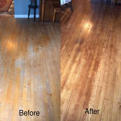 A restorative wood polish which uses ingredients like beeswax to help bring life and luster back to any wood surface — floors, tables, legs. Scratched Wood Floors, Old Wood Floors, Cleaning Wood Floors, Clean Hardwood Floors, Refinishing Hardwood Floors, Diy Flooring, Floor Refinishing, Painted Wood Floors, Floor Cleaning
