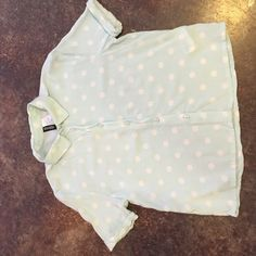Divided Crop Top Baby Blue W/ White Polka Dots Super cute baby blue crop top button down with white polka dots. Goes great with white jeans or shorts. Material is light and great for the summer and spring! Worn only once. H&M Tops Crop Tops