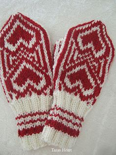 Knitted mittens for a little girl.