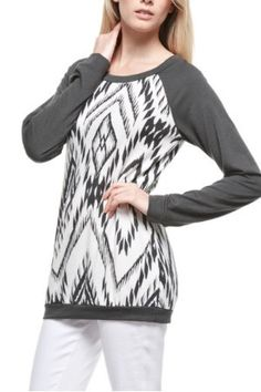French Terry Print Long Sleeves Top