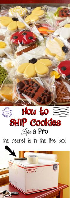 cookie tips This tutorial and video will show you my secret trick on how to ship cookies like a pro. It will protect your cookies and save you money! Fancy Cookies, Iced Cookies, Cut Out Cookies, Royal Icing Cookies, No Bake Cookies, Cookies Et Biscuits, Cupcake Cookies, Royal Icing Decorated Cookies, Flower Sugar Cookies