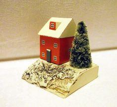 Christmas wood house home decoration house miniature wood