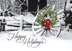Country Holiday - Holiday Greeting Cards- The card depicts a country homestead with a wagon wheel decorated for the holidays with a classic wreath.The Office Gal