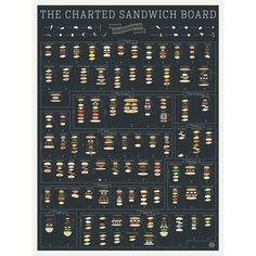 DESCRIPTION Lettuce introduce you to our most impressive sub-mission yet: A savory chart of sandwiches! Featuring an internationally inspired, mouthwatering menu of nearly 90 hand-drawn heroes, gyros,