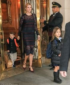 Off they go! Ivanka Trump was pictured taking her kids to school on Tuesday morning...