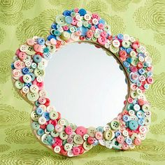 Button mirror craft for kids - also I think most of us are a little overweight, so I am sharing this... I saw this on TV and I have lost 26 pounds so far pretty quickly too http://hcgtrim4summer.com