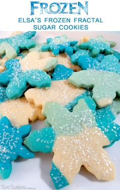 Everyone at your Frozen Birthday Party will love Elsa's Frozen Fractal Sugar Cookies. So pretty, so sparkly, so delicious ... they are the perfect Frozen party treat and will look lovely on your Frozen Dessert Table. For more great Frozen Party Ideas follow us at http://www.pinterest.com/2SistersCraft/