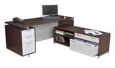 OneDesk Collection L-shaped Corner Desk with Low Credenza – OfficeDesk.com