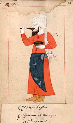 "Sultan's taster  ""Czesnerbassa qui éprouve il manger de l'Empereur""  Cesnici basi. The 'Rålamb Costume Book' is a small volume containing 121 miniatures in Indian ink with gouache and some gilding, displaying Turkish officials, occupations and folk types. They were acquired in Constantinople in 1657-58 by Claes Rålamb who led a Swedish embassy to the Sublime Porte, and arrived in the Swedish Royal Library / Manuscript Department in 1886."