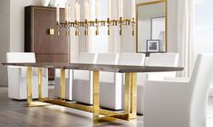 Furniture: Brass Dining Table From RH Home - New Brass Furniture and Decor from RH Modern Extension Dining Table, Dining Table Design, Modern Dining Table, Dining Tables, Dining Room Furniture, Furniture Design, Fine Furniture, Custom Furniture, Contemporary Furniture