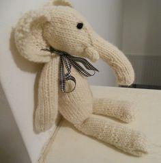 White Elephant handknit wool toy