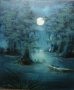 Louisiana Swamp Night Paintings   Eerie Blue Bayou Night time swamp moon light water by RaganArts, $350 ...