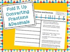 """This Fold it Up is a little different than any I've made before. It includes a fraction/decimal number line at the top, and the folded section with terms underneath. There is a direction page included. Additional products you may want to check out: Converting Fractions and Decimals Footloose """"Turbo"""" Comparing and Ordering Fractions Footloose Comparing and Ordering Fractions Problem Solving..."""