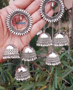 Silver jewelry Hand Made Videos - Silver jewelry Indian Earrings - - - Oxidised Silver jewelry Set - Indian Jewelry Earrings, Indian Jewelry Sets, Jewelry Design Earrings, Silver Jewellery Indian, Indian Wedding Jewelry, Antique Earrings, Bridal Jewelry, Silver Jewelry, Silver Earrings
