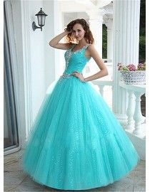 V-neck swarovski beaded elongated bodice turquoise blue tulle wedding dresses QD-001