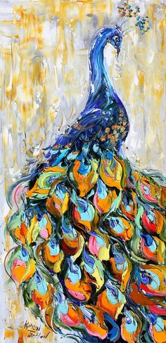 Original oil on canvas PEACOCK bird palette knife painting by Karensfineart. Modify this, do different colored feathers, or warm up the whole thing and do a pink body Peacock Painting, Peacock Art, Painting Flowers, Painting Art, Bird Painting Acrylic, Peacock Images, Acrylic Paintings, Painting Tips, Watercolor Art