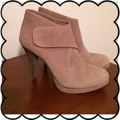 """Final sale ❗️BCBG leather booties """"Wooden"""" heel and taupe colored soft leather. Velcro closure. Small mark on one toe and some denim staining on back of shoes from jeans. May come out- I didn't try. Worn about 4x as you can see from like-new soles. Heel measures about 4.5 inches. Price firm unless bundled! BCBGeneration Shoes"""