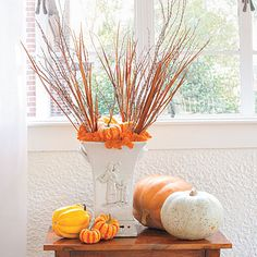 Add Height to Your Pumpkin Display   Arrange branches, dried grasses, moss, squash, and small pumpkins in a vase as you would a traditional flower display. Then, choose a single pumpkin with an interesting shape or a twisted stem to showcase. Place it on a smaller table or stool to help set it apart from the rest.