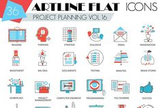 36 Project business planning icons. by Lemberg Vector on @creativemarket