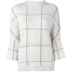 Brunello Cucinelli cashmere grid print jumper ($2,620) ❤ liked on Polyvore featuring tops, sweaters, white, white top, brunello cucinelli, cashmere tops, brunello cucinelli top and cashmere jumpers