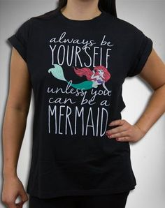 Ariel Be a Mermaid Cuff Sleeve Junior Fitted Tee