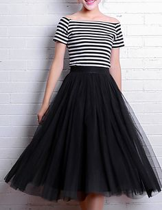 Fashion new party Vintage Skirts Womens Elastic High Waist Tulle Mesh Skirt Long Pleated Tutu Skirt Female Long Tutu Skirt, Black Tutu Skirt, Tulle Skirts, Pleated Skirts, Women's Skirts, Casual Skirts, Tutu Rock, Mesh Skirt, Outfit Trends