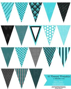 18 Turquoise Black and White Pennant Banner Printables! $3.50 String ...