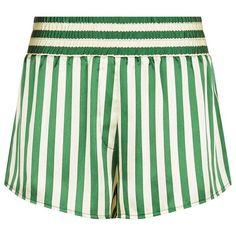 Morgan Lane Corey Striped Pyjama Shorts ($225) ❤ liked on Polyvore featuring shorts, stripe shorts, elastic waist shorts, elastic waistband shorts, sequin shorts and striped shorts