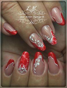 New nail designs. Fingernails Painted, Shellac Nails, Red Nails, Swag Nails, Acrylic Nails, Nail Nail, Nail Polish, Beauty Hacks Nails, Nail Art Hacks