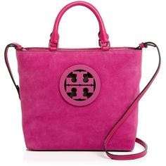 Tory Burch Charlie Small Suede Tote (£320) ❤ liked on Polyvore featuring bags, handbags, tote bags, pink handbags, pink suede handbag, suede purse, pink tote purse and tote purses