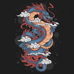 Dragon and cloud artwork Premium Vector Japanese Dragon, Chinese Dragon, Japanese Art, Dragon Wallpaper Iphone, Beast, Graffiti Doodles, Dragon Illustration, Dragons, Plakat Design