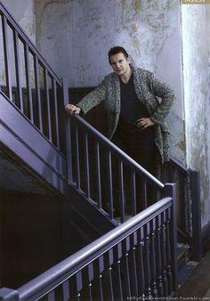 Liam Neeson, male actor, celeb, movie star, stairway, stairs, portrait, photo