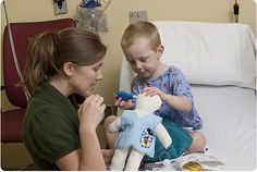 Our child life specialist use dolls to help prepare your child for procedure. The dolls help the child better understand what is happening and what to expect afterwards. #childrensatl #childlife