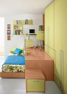 Loft wooden teenage #bedroom KIDS S2 by FAER Ambienti by Gruppo Lube | #design Vittorio Lanciani #green #kids