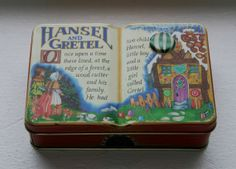 """Charming 1995 Silver Crane Company Hansel and Gretel Story Book Tin - """"Probably the Best Tins in the World"""""""