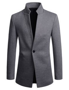 (NDJ41) TheLees Mens Slim Fit Swallow Chinese Collar One Button Jacket Blazer