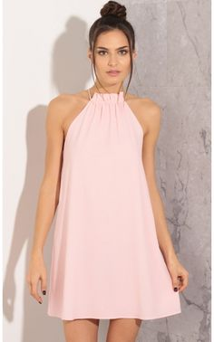 Party dresses > Gathered Halter Shift Dress In Light Pink