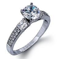 Simon G Side Stone 18k - White Gold Diamond Engagement Ring