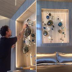 Just finishing up with the installation of this fabulous handblown glass assemblage for a Pasadena client's master bedroom. #art #artsy #artinstallation #glass #artglass #handblownglass #artconsultant #contemporaryart #livecolorfully #artofinstagram #luxurydesign #interiordesign #interiorinspo #walldecor