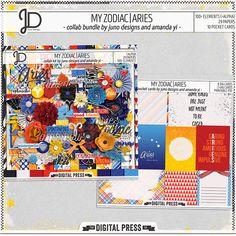 My Zodiac | Aries - Digital Scrapbook Bundle by Juno Designs & Amanda Yi