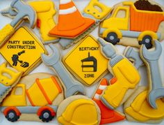 Oh Sugar Events: Birthday Under Construction - Crazy awesome detailing on construction cookies! Construction Cookies, Construction Birthday Parties, Construction Party, 3rd Birthday Parties, Boy Birthday, Birthday Ideas, Cookies For Kids, Fancy Cookies, Cute Cookies